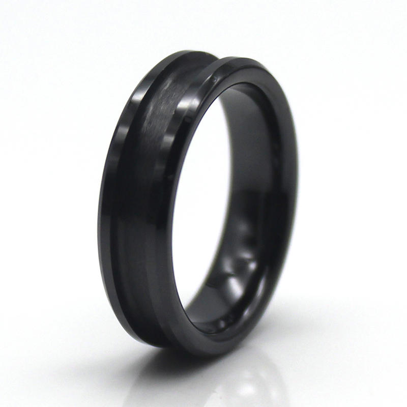 8mm Black Ceramic Ring Blank for inlay