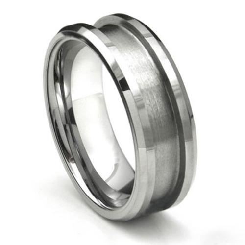 8mm Beveled Edges Tungsten Band Rings Blank for inlay