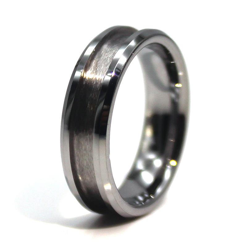 customized titanium ring core black silver for men-3