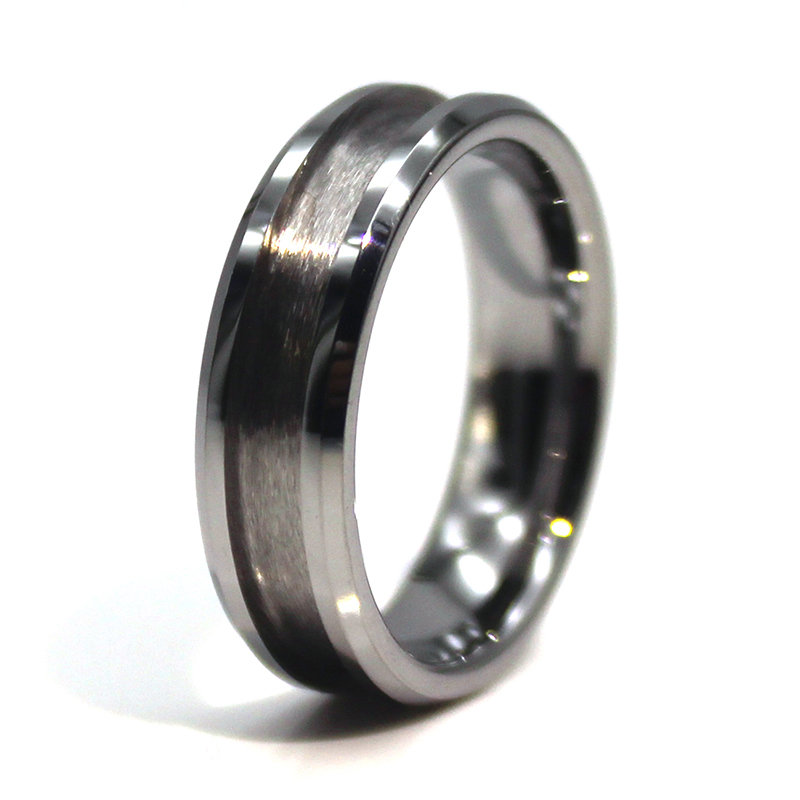 JaneE inlay brushed custom tungsten ring matt for engagement-6