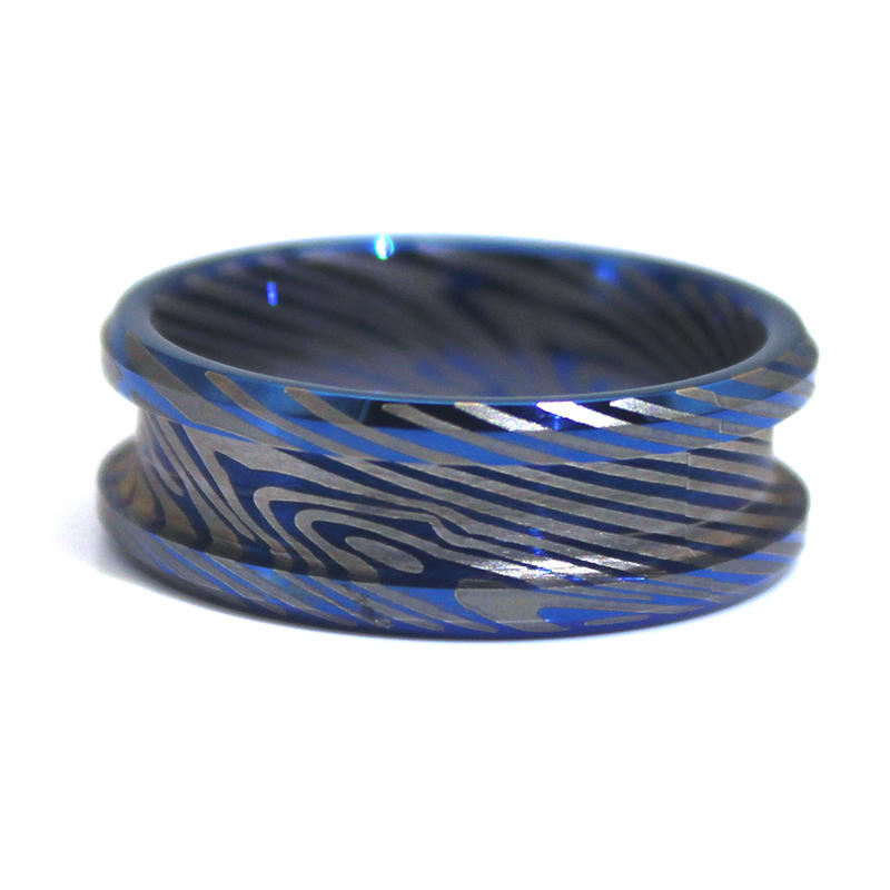 8mm IP Blue Tungsten Ring Plated Damascus Texture Engraved Blank with channel for inlay