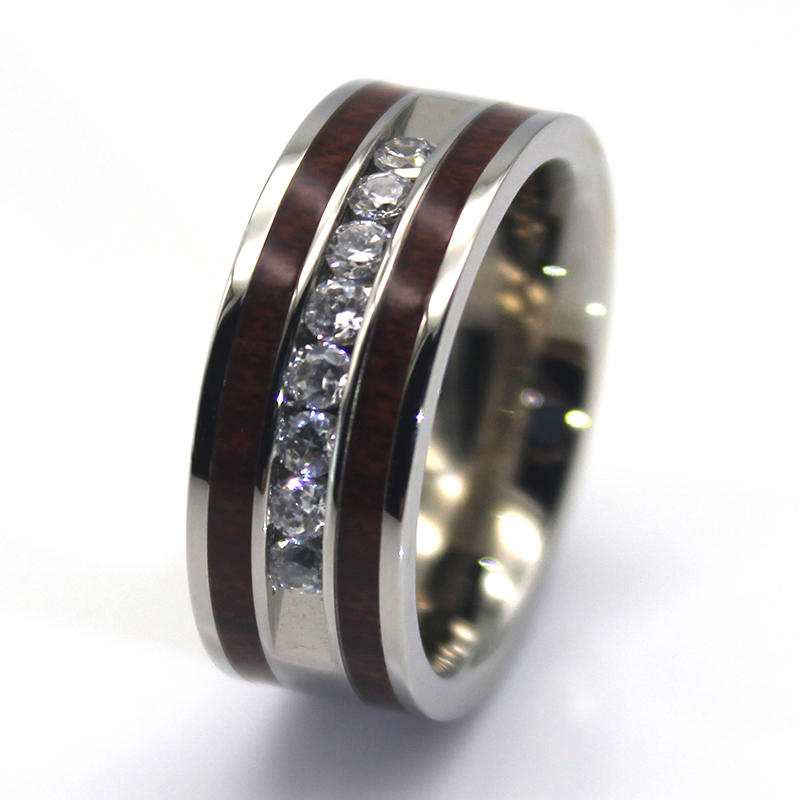 8 CZ Stones Channel Setting Surgical Steel Wedding Rings with KOA wood inlay