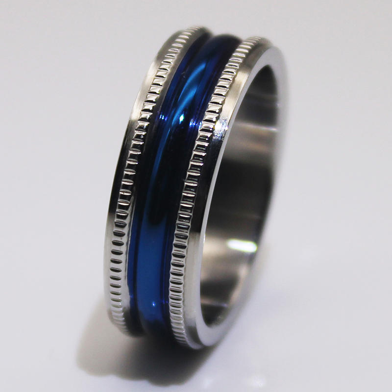 Fully polished Milgrain IP blue plated 316l Mens Stainless Wedding Bands