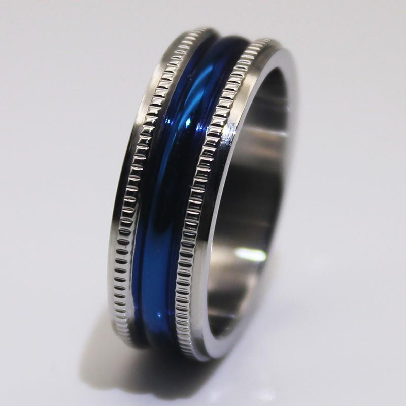 customized stainless steel promise rings blue multi colors for men