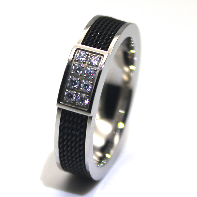 6mm IP Black Plated Steel Rope inlay CNC Stone Setting 316l Stainless steel Ring for men women