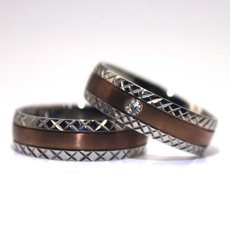 IP Brown plated 316l Stainless steel Couple Rings Wedding rings