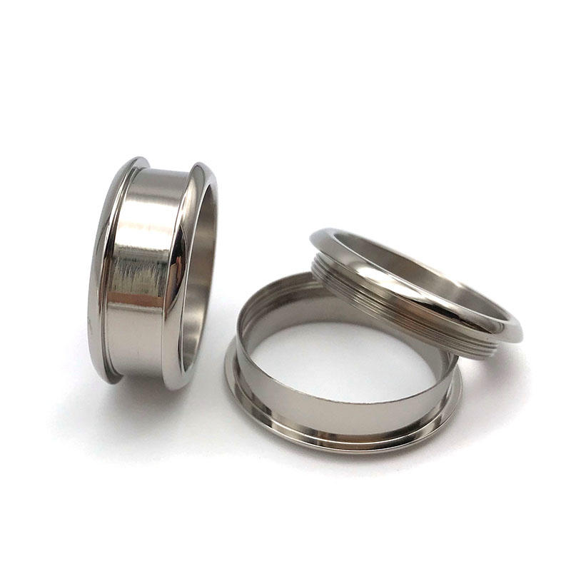 Factory Direct 8mm Titanium Wedding Rings Blanks with threads for Wood Crafts