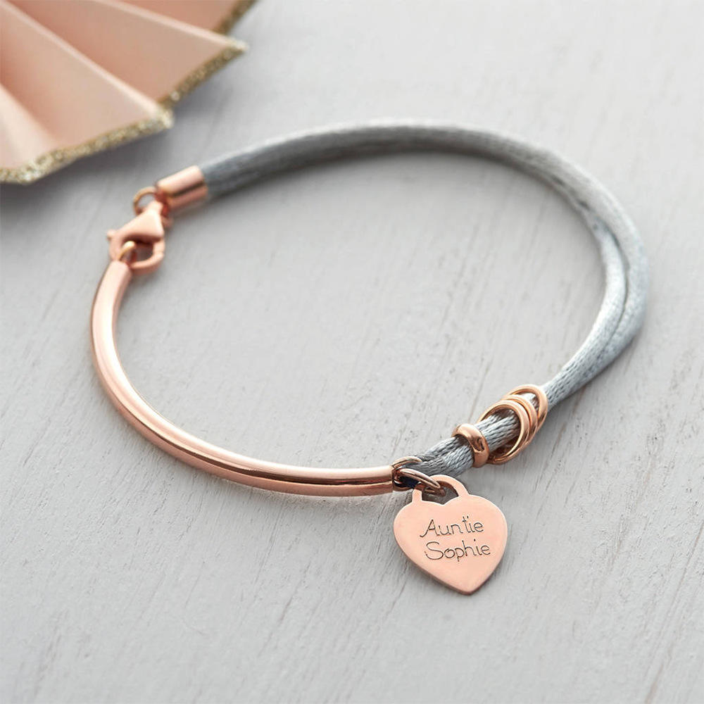 Custom Jewelry Engraved Stainless Steel Heart Shape Rope Bracelet Charms for Men Women