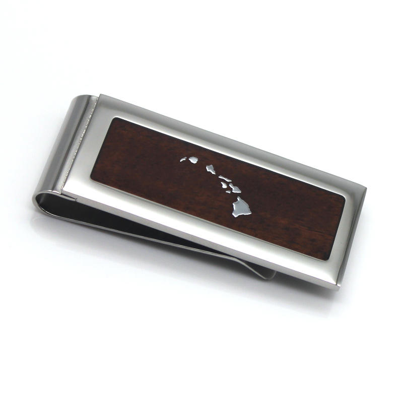 Hawaiian KOA Wood Inlay Stainless Steel Personalized Money Clip