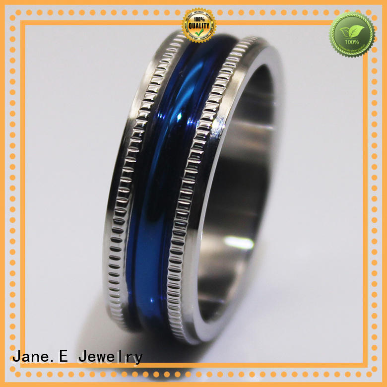 JaneE square edges stainless steel promise rings fashion design for weddings