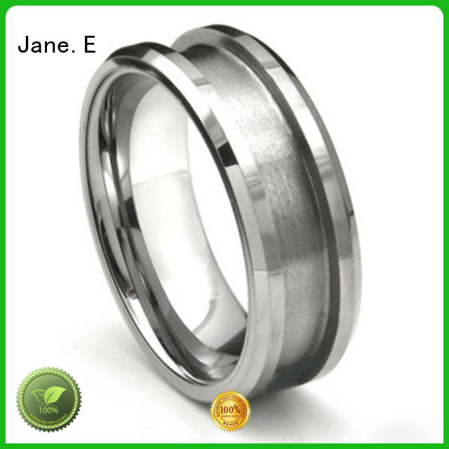 JaneE shiny polished wood tungsten ring exquisite for engagement
