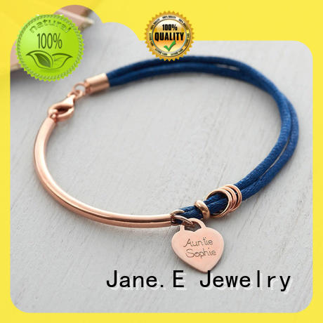 JaneE polished finished rope and anchor bracelet rose red for anniversary