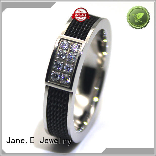JaneE 18k gold black stainless steel mens ring comfortable for decoration