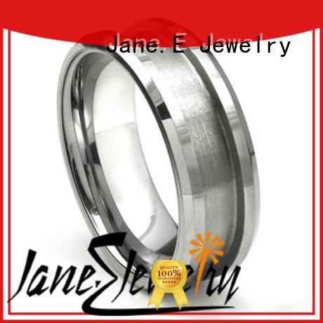 JaneE two tones mens black tungsten wedding bands engraved for wedding