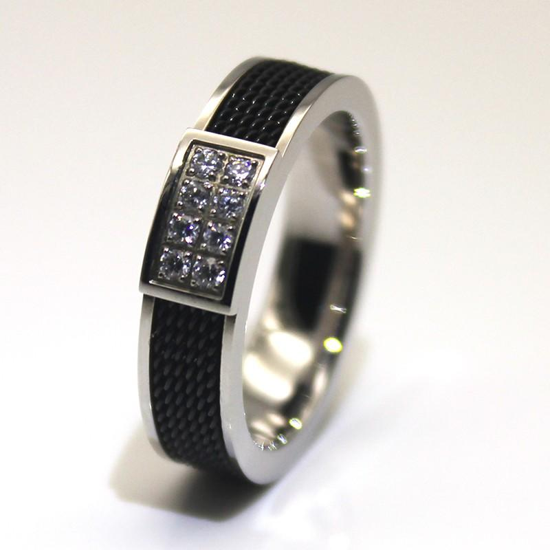 JaneE 18k gold black stainless steel mens ring comfortable for decoration-2