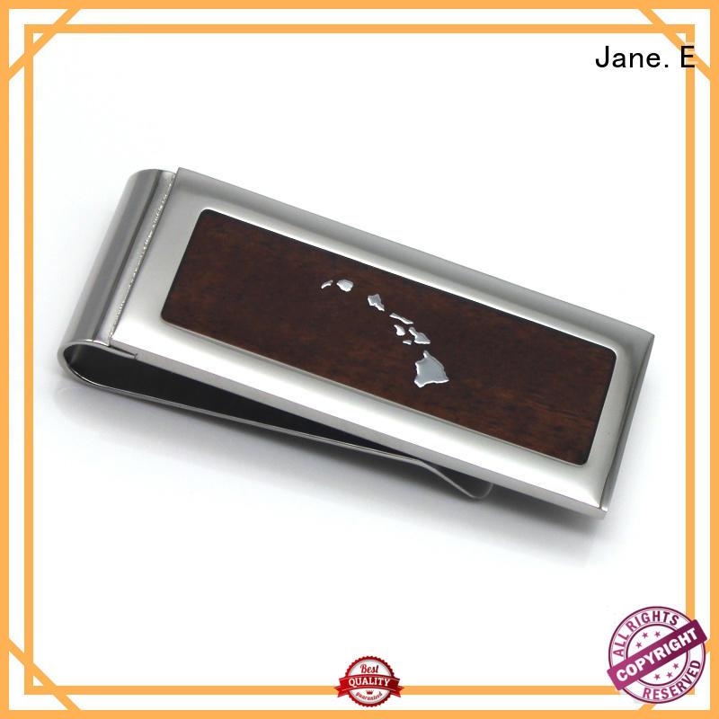 JaneE plain stainless steel money clip adjustable for men's wallet
