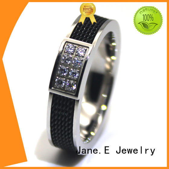 JaneE shiny stainless steel ring multi colors for men