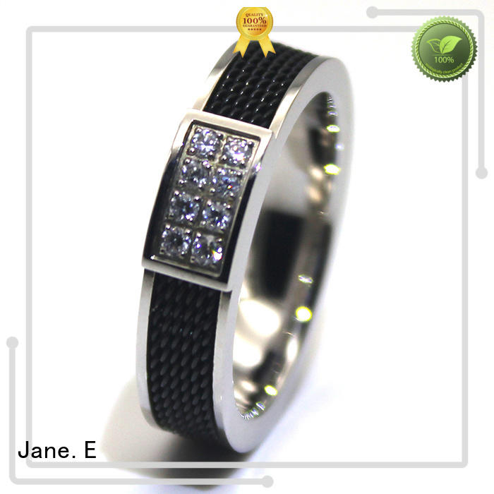 JaneE factory direct stainless steel wedding bands for her plating for men