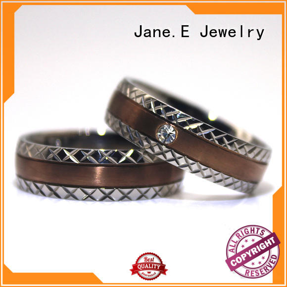 JaneE fashion custom stainless steel rings popular design for engagement