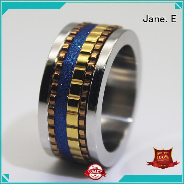 JaneE AAA CZ Stones simple stainless steel rings comfortable for decoration