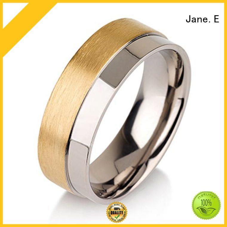 JaneE polished edge black titanium engagement rings wholesale for engagement