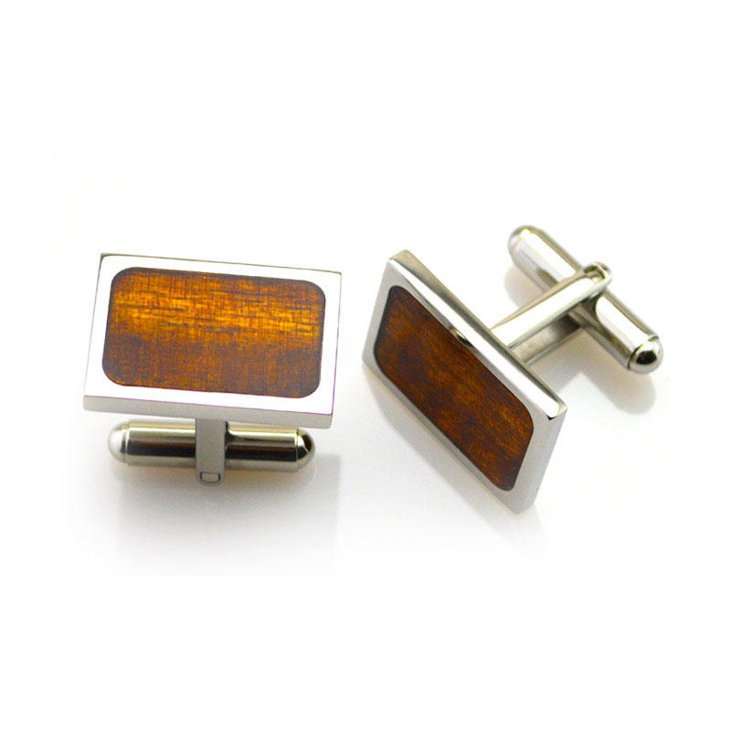 Koa Wood veneer inlay 316l Stainless Steel Mens Personalised Cufflinks