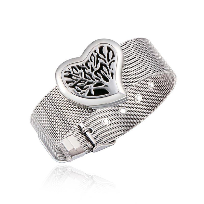 Surgical Stainless Steel Bangle Women Aromatherapy Essential Oil Diffuser Locket