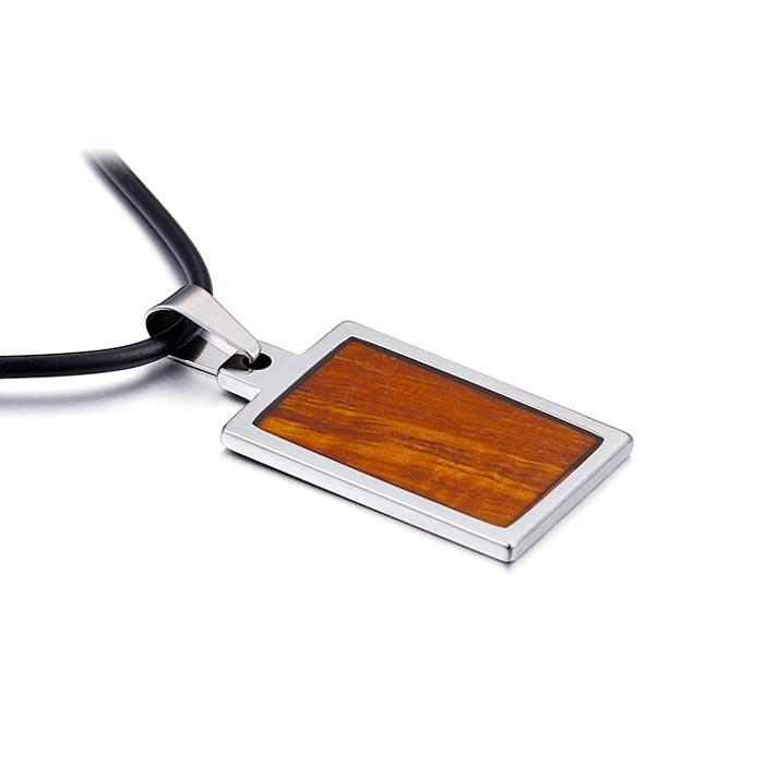 KOA wood inlay 316l Stainless Steel Necklace Pendants for men