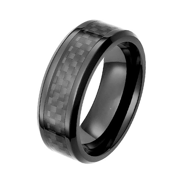 Mens Black Zirconium Wedding Rings Carbon Fiber inlay
