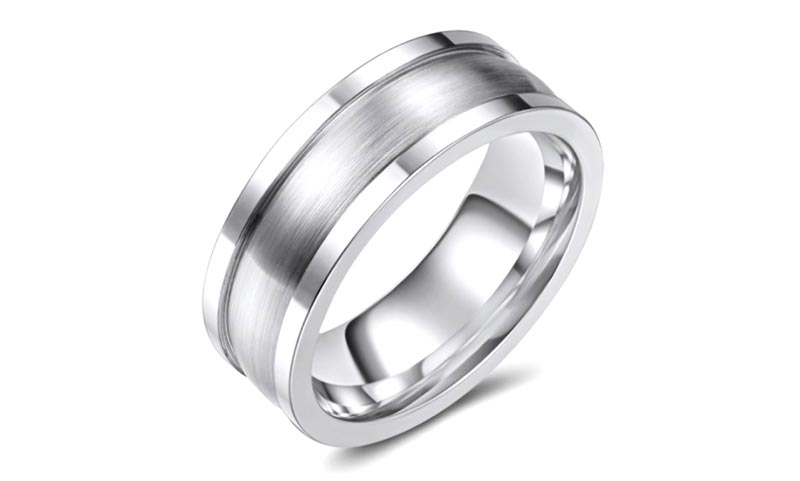 JaneE silver white black cobalt chrome ring for inlay-1