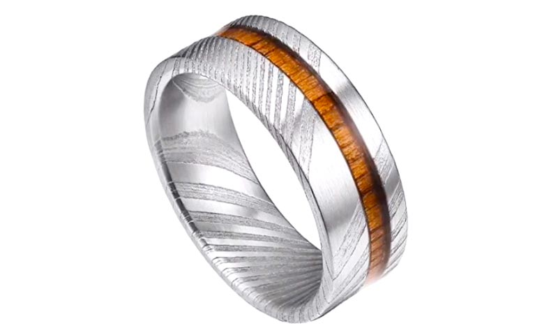 IP black plated damascus steel and wood wedding band wood veneer inlay wholesale for inlay-1