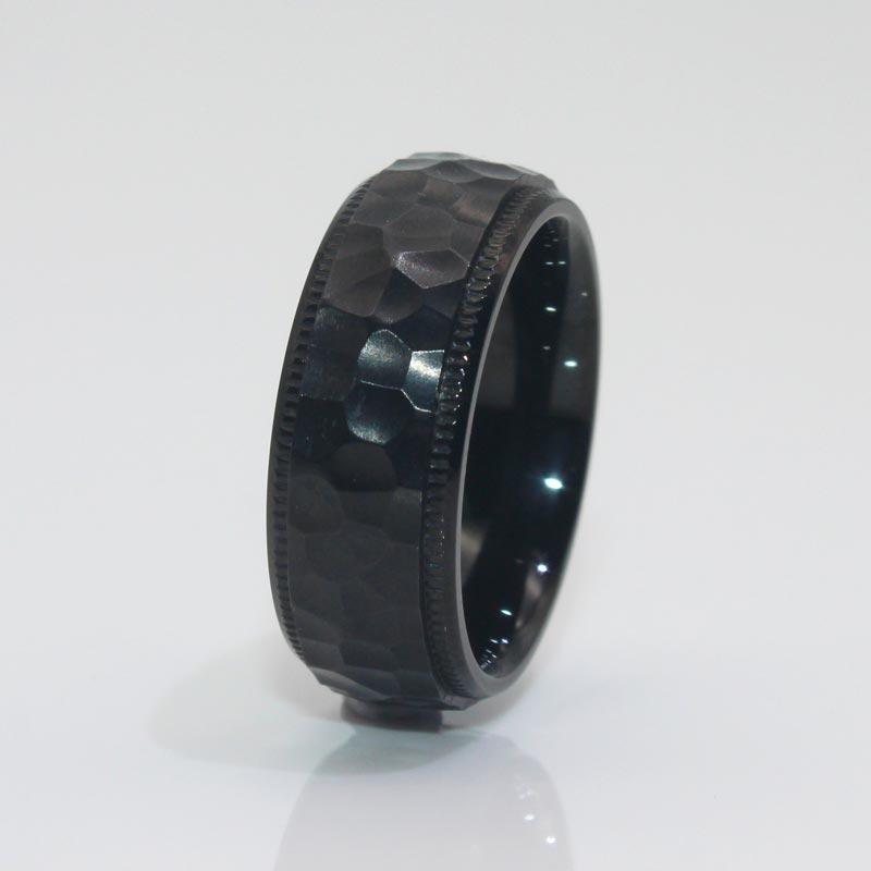 8mm IP Black Stainless Steel Ring Hammered Style Milgrain for men