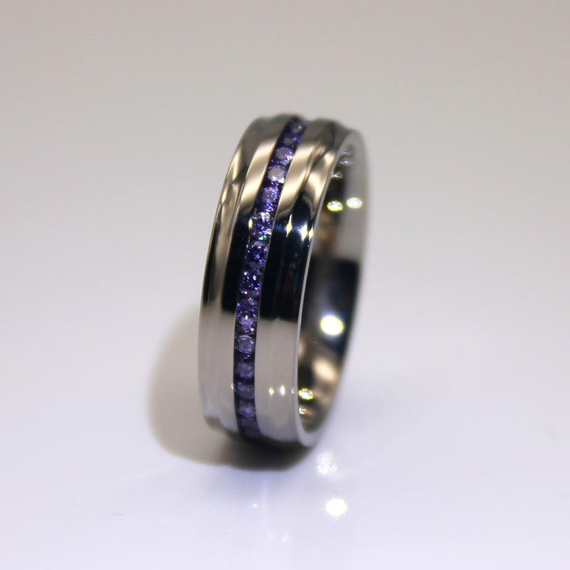 Channel Setting Stainless Steel Cz Rings 316l Stainless steel band ring for men and women