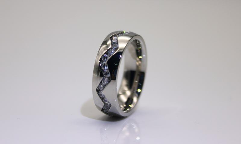 JaneE shiny black stainless steel mens ring multi colors for men