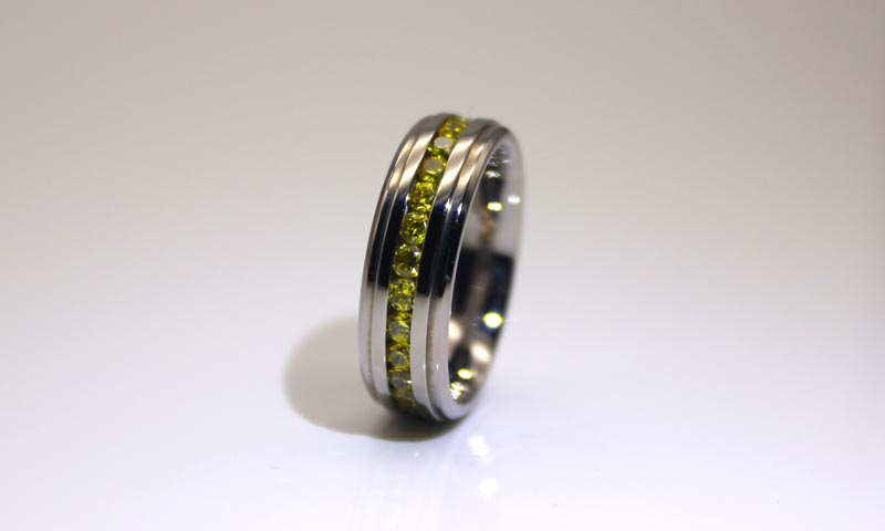 JaneE shiny black stainless steel mens ring multi colors for men-4