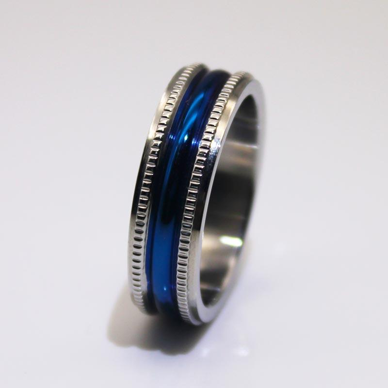 Fully polished Milgrain IP blue plated 316l Custom Stainless Steel Rings