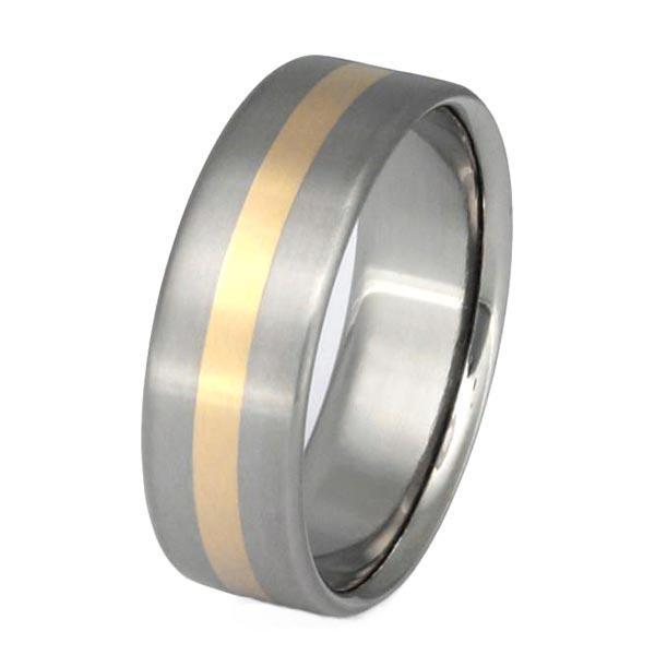 14K Yellow Gold inlay Titanium Engagement Rings