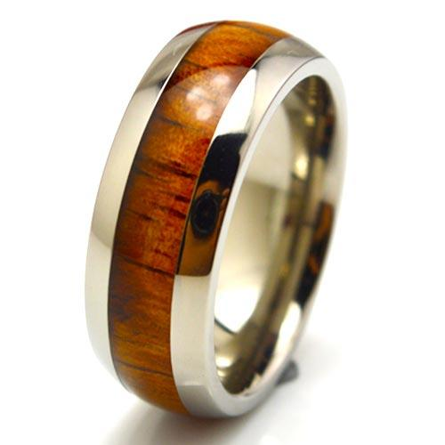 High Quality KOA wood inlay titanium band