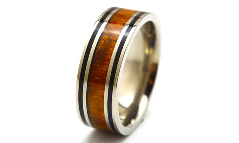 JaneE for wood crafts custom black titanium rings simple for anniversary-4