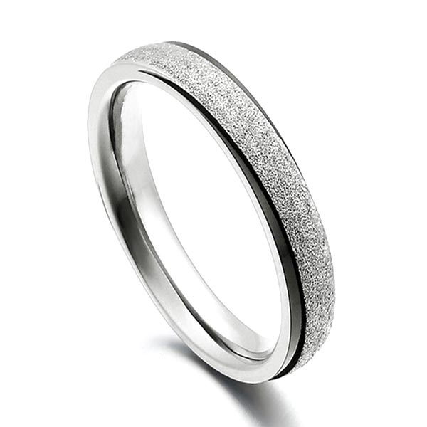 JaneE sparkle sandblasting mens 5mm titanium wedding band polished edge for anniversary-5