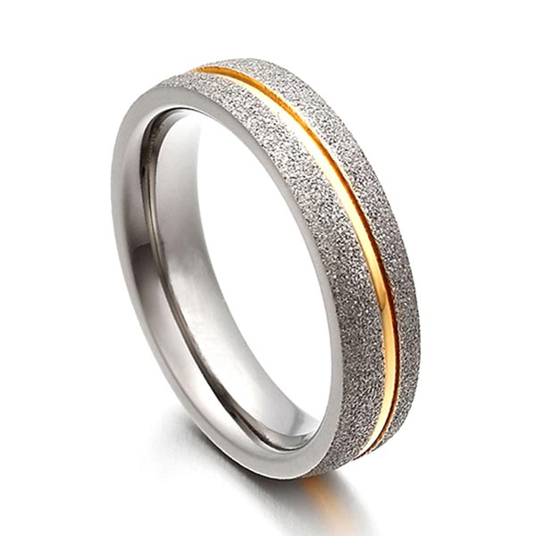 JaneE sparkle sandblasting mens 5mm titanium wedding band polished edge for anniversary-6