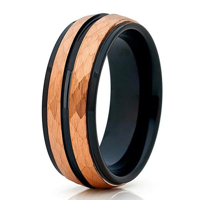 Two Tones IP Black & Rose Gold Tungsten Ring Hammered Finish