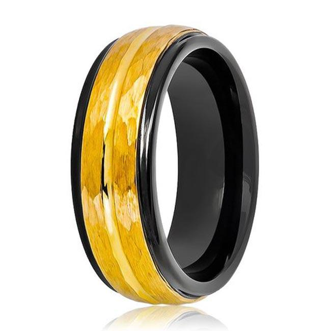 JaneE shiny polished gold tungsten ring exquisite for wedding