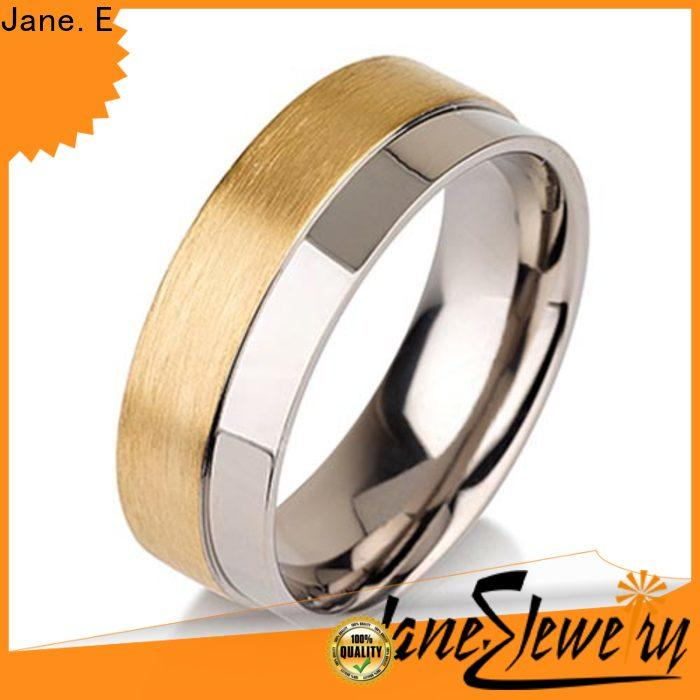 JaneE center beveled titanium ring blanks wholesale for anniversary