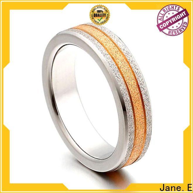 JaneE yellow gold men's titanium wedding band wholesale for wedding