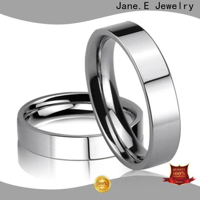 JaneE square edges women's stainless steel wedding rings fashion design for decoration
