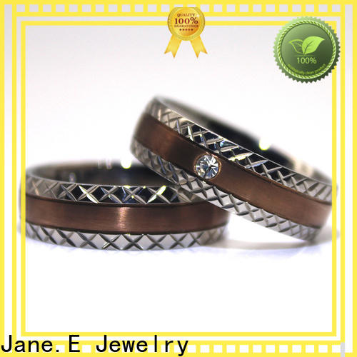 JaneE blue titanium wedding rings silver for handcrafts works