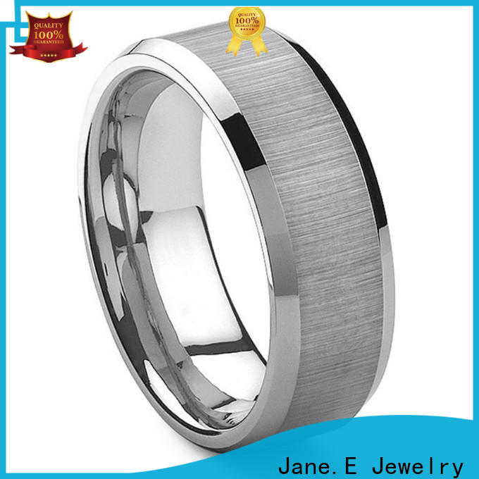 JaneE koa wood tungsten gold wedding bands engraved for engagement