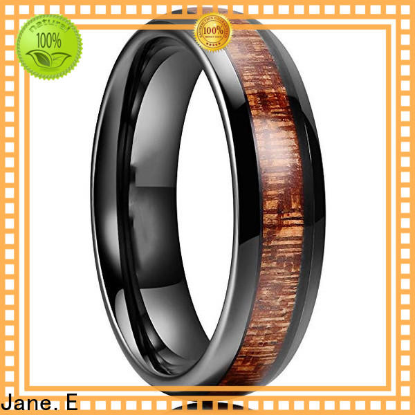 JaneE multi colors mens black wedding bands engraved for wedding