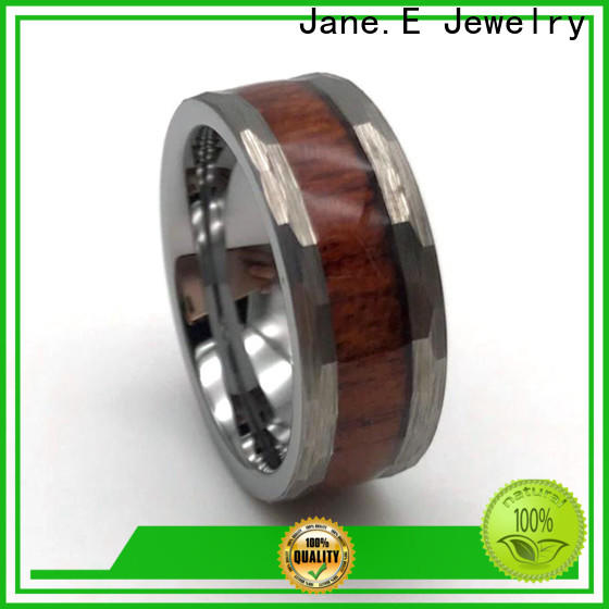 JaneE shiny polished 6mm tungsten men's wedding band engraved for engagement